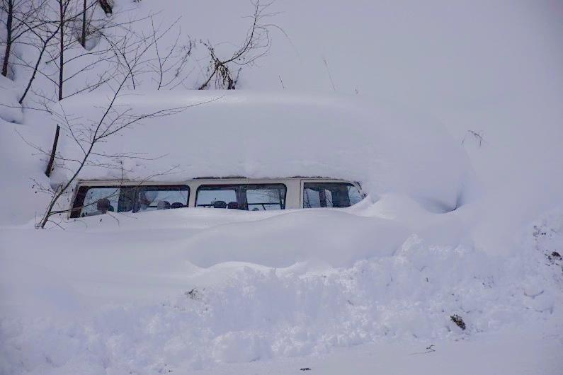 雪深い二岐温泉